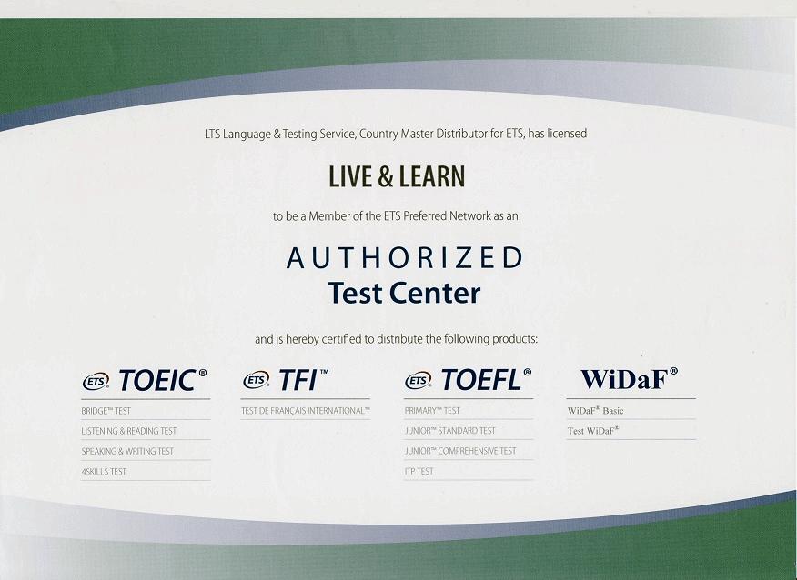 LIVE & LEARN ist anerkanntes Testzentrum